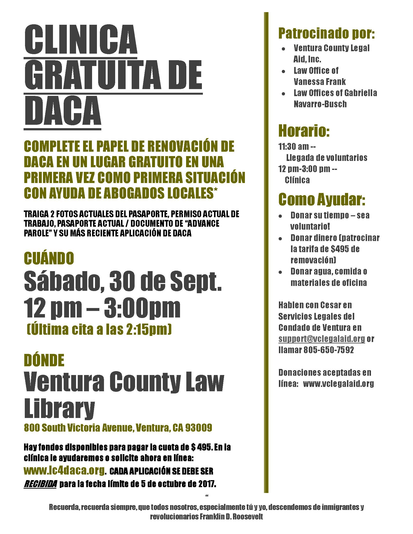 DACA Clinic Sept. 30