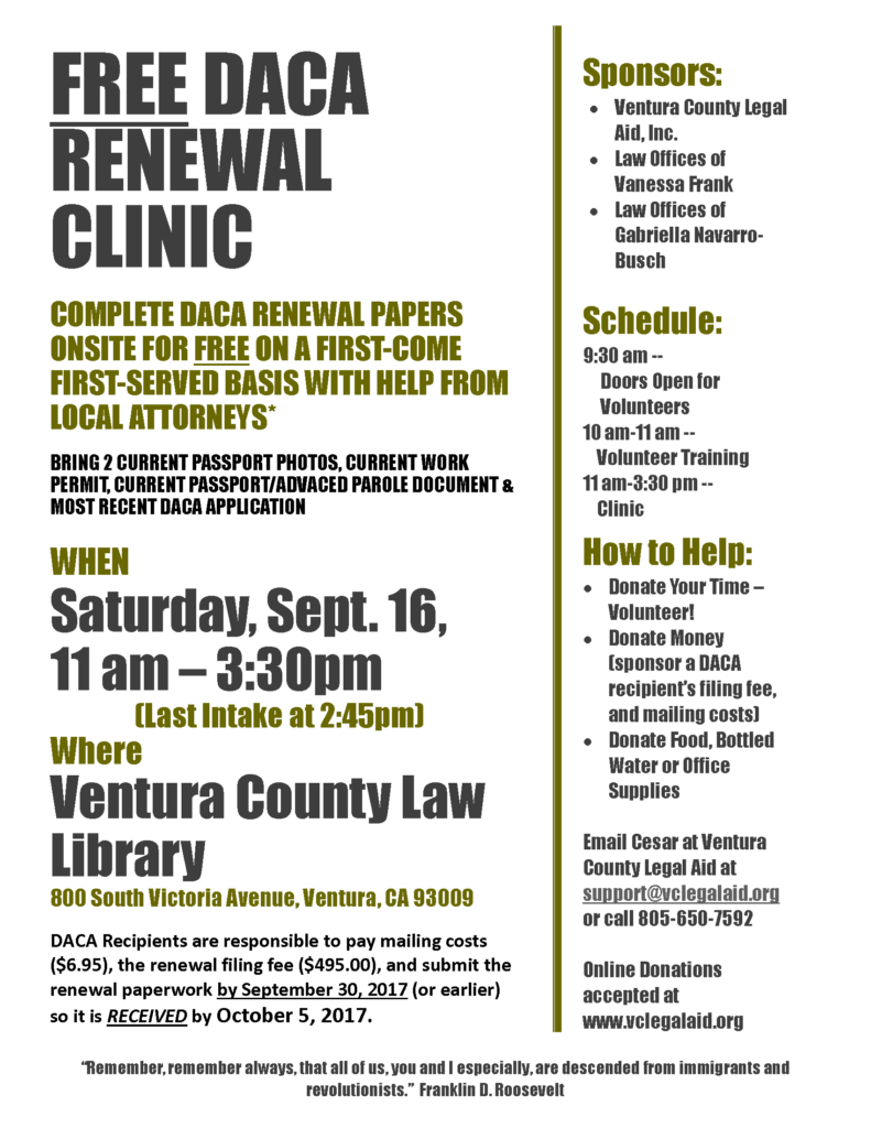 DACA Clinic Ventura County Law Library - Help with legal paperwork
